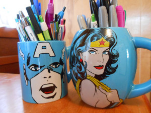 Captain America and Wonder Woman mugs