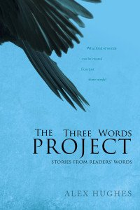 Book cover for the Three Words Project by Alex Hughes. A blue background with a crow's wing sweeping above blocky black text.