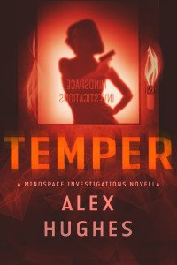 Cover for the ebook Temper. Red flame and text on a black background, with a woman carrying a gun silhouetted against a window
